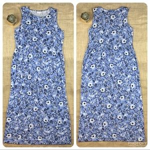 J JILL Dress Small Maxi Blue Bird Floral